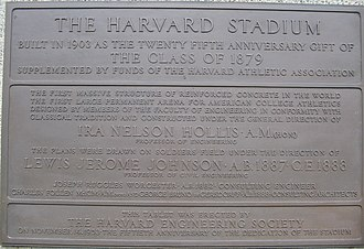 Harvard Stadium - Image: Harvard Stadium Rededication Plaque 1953