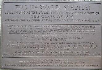 Harvard Stadium - Image: Harvard Stadium Rededication Plaque 1953