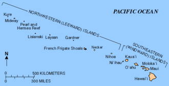 Nihoa - Map showing the location of Nihoa in the Hawaiian island chain