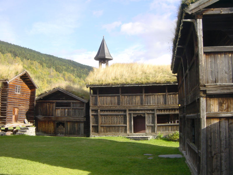 Sod roofs on 18th century farm buildings in Heidal, Norway.