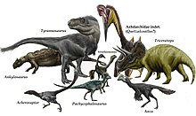 Reconstruction of several dinosaurs of various sizes and colors
