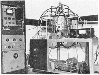 Helmholtz coil - Helmholtz coils (hoops) on three perpendicular axes used to cancel the Earth's magnetic field inside the vacuum tank in a 1957 electron beam experiment