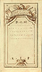 Design for a gravestone, circa 1705