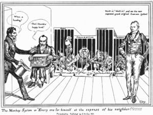 """American System (economic plan) - The Monkey System or Every One For Himself Henry Clay says """"Walk in and see the new improved grand original American System!"""" The cages are labeled: """"Home, Consumption, Internal, Improv"""". This 1831 cartoon ridiculing Clay's American System depicts monkeys, labeled as being different parts of a nation's economy, stealing each other's resources (food) with commentators describing it as either great or a humbug."""