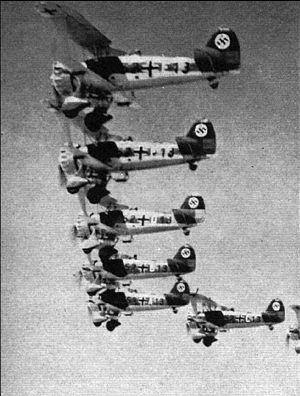 Henschel Hs 123 - A squadron of German Luftwaffe Henschel Hs 123A in flight before the Second World War.