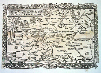 Vasili III of Russia - Map of Russia (Moscovia) published by Sigismund von Herberstein in 1549