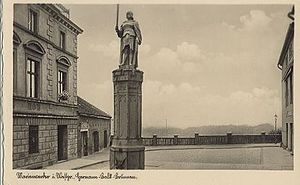 Hermann Balk - This 1922 postcard of the Hermann Balk Fountain in Marienwerder depicts Balk in historically incorrect Late Middle Ages dress