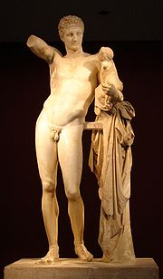 Hermes bearing the infant Dionysus, by Praxiteles, Olympia Archaeological Museum.