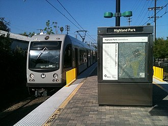 Highland Park, Los Angeles - LACMTA Gold line train pulling into Highland Park Station