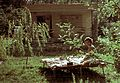 Holiday house, deck chair, garden, lady, portable radio, colorful Fortepan 92129.jpg