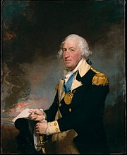 A three-quarters length oil portrait of Gates against a neutral dark background. He is wearing a general's uniform, blue jacket with gold facing and gold epaulets. He is holding a sword in one hand and a paper in the other. His hair is white and has been tied back.