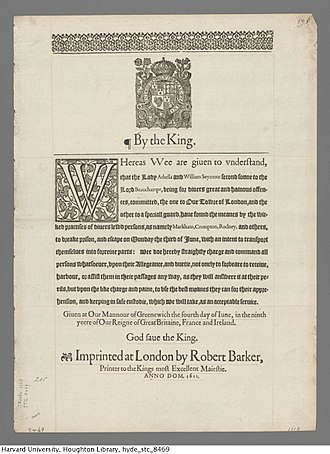 Lady Arbella Stuart - Royal warrant for arrest of Arbella, Lady Beauchamp, and Lord Beauchamp, 1611