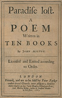 <i>Paradise Lost</i> Epic poem by John Milton