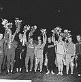 Huldiging der kampioenen (wielrennen), vlnr Nijdam, Timoner, Maspes, Plattne, Bestanddeelnr 914-2631.jpg