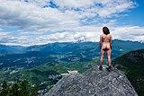 Human standing nude on the third peak of Stawamus Chief (DSCF7840).jpg