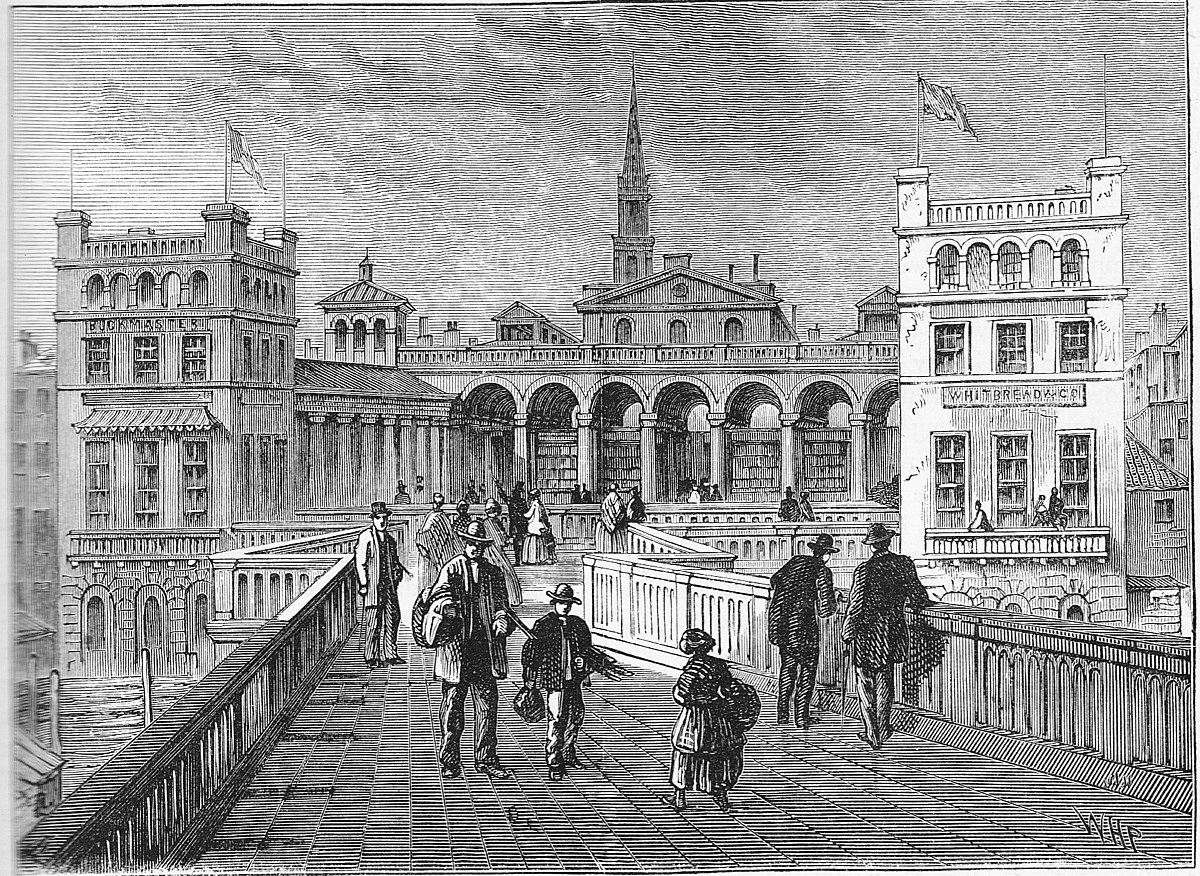 Hungerford Market from Hungerford Bridge in 1850