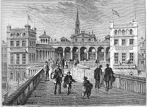 "Hungerford Market -  ""Hungerford Market, from the bridge, in 1850"". Engraving by ""WHP"" published in Edward Walford's ""Old and New London"", 1878. New Hungerford Market, built circa 1832, viewed from Hungerford Bridge. The Church of St Martins-in-the-Field is visible in the background"