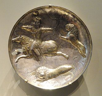 Sasanian art - Silver-gilt bowl with king hunting, a typical subject in Sasanian metalwork