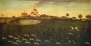 Hunting Scene with a Pond