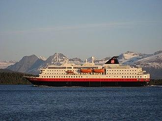 Hurtigruten AS - MS Kong Harald (coastal express) in Moldefjorden.