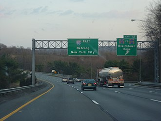 Interstate 80 in New Jersey - I-80 expressway east in Hope Township