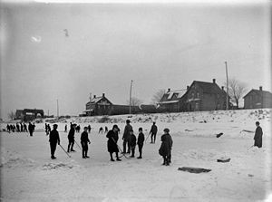 Sport in Ottawa - An ice hockey game on the Rideau Canal, Christmas Day  1901