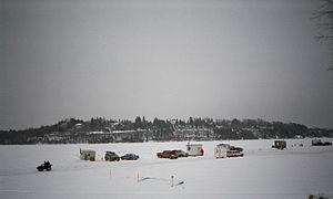Ice fishing - Ice fishing on the Ottawa river, near the capital of Canada