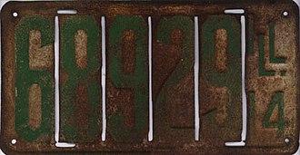 Vehicle registration plates of Illinois - Image: Illinois 1914 license plate 68929