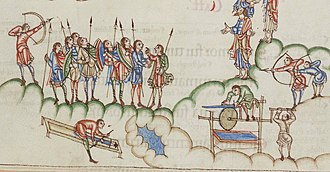 """Eadwine Psalter - Eadwine, folio 108v. The psalm begins (NIV): """"Hear me, my God, as I voice my complaint; protect my life from the threat of the enemy. 2 Hide me from the conspiracy of the wicked, from the plots of evildoers. 3 They sharpen their tongues like swords and aim cruel words like deadly arrows.""""  The literal rendering of metaphor is a characteristic of the Utrecht tradition of illustration."""
