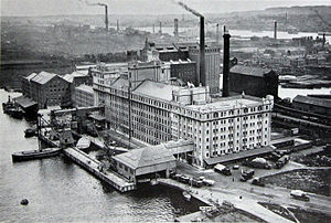 Royal Docks - Spiller's Millennium Mills on the south side of the docks, 1934