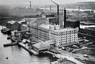 Royal Docks - Spiller's Millennium Mills on the south side of the docks, 1934