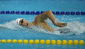 Front crawl - Swimmer breathing during front crawl