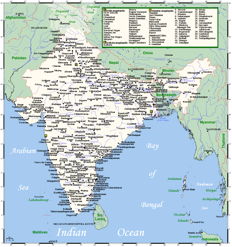 Every city in India with 100,000+ population, and then some