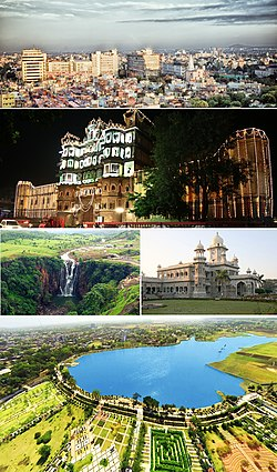 Clockwise from top: Skyline of Mangal City Area (Vijay Nagar), Rajwada Palace, Daly College, Atal Bihari Vajpayee Regional Park aerial view, Patalpani Waterfalls
