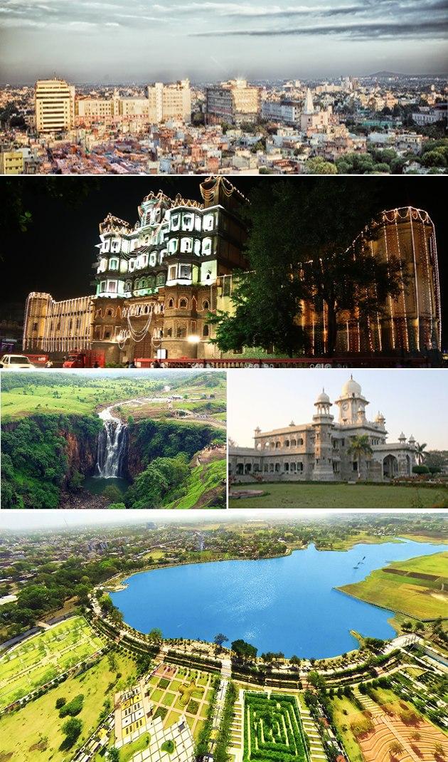 Clockwise from top: skyline of Mangal City area (Vijay Nagar), Rajwada Palace, Daly College, Atal Bihari Vajpayee Regional Park aerial view, Patalpani Waterfalls