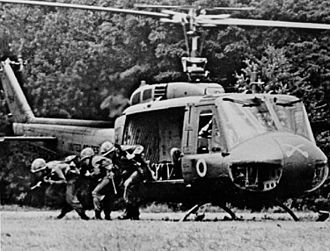 9th Cavalry Regiment (United States) - A rifle squad from the 1st Squadron, 9th Cavalry exiting from a UH-1D