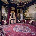 Interieur, bel-etage, achterzijde (Eetkamer), plafondschildering, Zaal met wand- en plafondafwerking in Marot-stijl voorzien van landschapsbehangsels, hoekstukken, schoorsteenstuk en plafondschildering - Amsterdam - 20392070 - RCE.jpg
