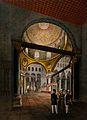 Interior of the Al-Aksa mosque, Jerusalem. Chromolithograph Wellcome V0050126.jpg