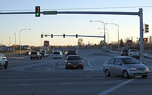 Continuous-flow intersection - A continuous flow intersection in West Valley City, Utah showing the layout and normal traffic flow in the southwest portion of the intersection.