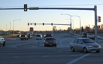 West Valley City, Utah - A continuous-flow intersection on the Bangerter Highway in West Valley City.