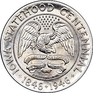 Iowa Centennial half dollar - Reverse