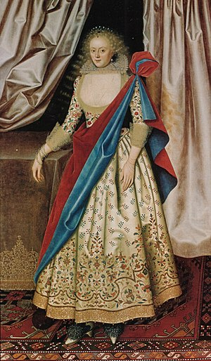 Robert Rich, 1st Earl of Warwick - Lady Isabella Rich, painted by William Larkin in 1614