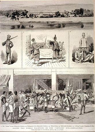 Abu Bakar of Johor - Illustration of activities in Istana Besar in 1882.