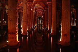 The Basilica Cistern in Istanbul, Turkey, buil...