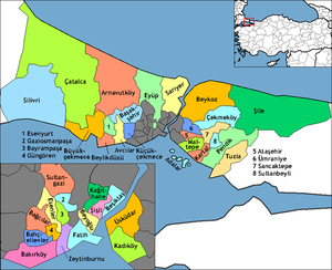 Map showing the districts of Istanbul. Esenyur...