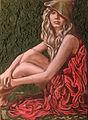 Izabela Kaliszewska Dziewczyna w czerwonej szacie 85x62cm.jpg