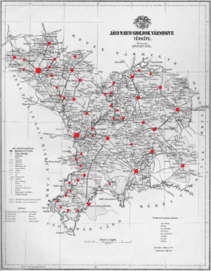 Jász-Nagykun-Szolnok County (former) - Ethnic map of the county with data of the 1910 census (see the key in the description).