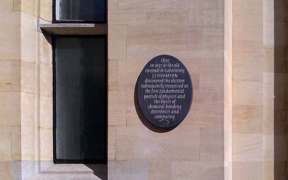 J.J. Thomson Plaque outside the Old Cavendish Laboratory