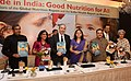 "J.P. Nadda and the Union Minister for Women and Child Development, Smt. Maneka Sanjay Gandhi releasing the ""India Health Report Nutrition 2015"" and ""Global Nutrition Report"".jpg"