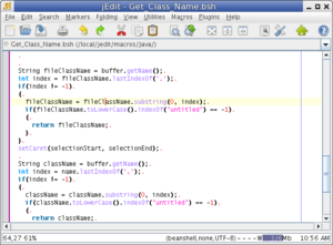 jEdit 4.3 showing Java macro
